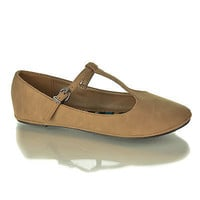 Laura Taupe Nubuck by City Classified, Taupe Nubuck Dress Mary-Jane Adjustable T-Strap Round Toe Ballet Flat