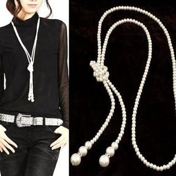 Romantic Multilayer Long Beaded Chain Tassel Pendant Necklace Women Office Lady Imitation Pearl Jewelry Bijoux Fashion Jewelry