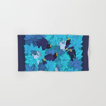 Tropical Art - Plants - Birds - Parrots Hand & Bath Towel by Salome
