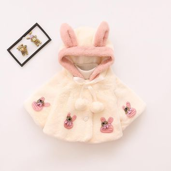 Autumn/Winter Newborn Warm Jacket Baby Girl Fleece Cloak Cape Infant Outerwear Coat Cape Cloak Poncho Hoodie Jacket Woolen Cloth