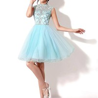 [86.99] In Stock Chic Tulle High Collar Neckline Short A-line Homecoming Dress With Beadings - dressilyme.com