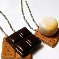 Best Friends S'Mores Pendants, Polymer Clay Jewelry, Food Jewelry