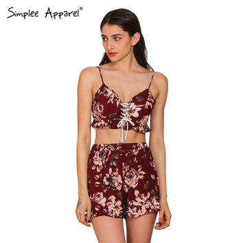 Simplee Apparel two pieces set floral print women jumpsuit romper Summer boho fitness short playsuit Sexy backless girls overall