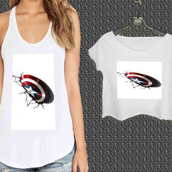 captain america shield 2 For Woman Tank Top , Man Tank Top / Crop Shirt, Sexy Shirt,Cropped Shirt,Crop Tshirt Women,Crop Shirt Women S, M, L, XL, 2XL*NP*
