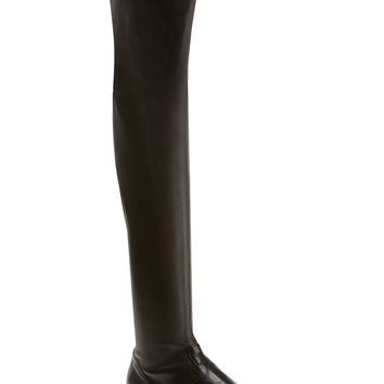 GIANVITO ROSSI BLACK STRETCH LEATHER OVER-THE-KNEE FLAT BOOTS