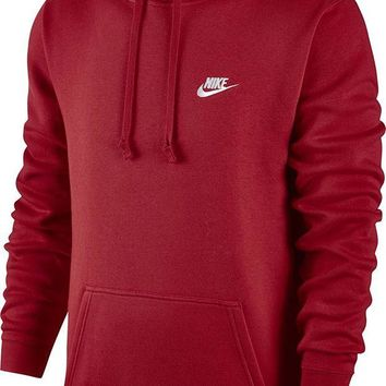 ONETOW Nike Mens Sportswear Pull Over Club Hooded Sweatshirt University Red/White 804346-657 Size Large