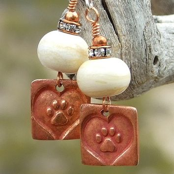 Dog Rescue Paw Print Heart Earrings Ivory Lampwork Crystals Handmade