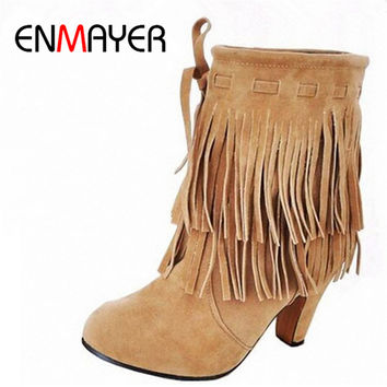ENMAYER Ankle Boots U.S. Large-size 4-14 Free Shipping Winter New Arrival Pointed High Heels Pump Shoes Fringed Suede Snow Boots