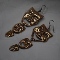 Vintage  Brass Comedy and  Tragedy mask earrings