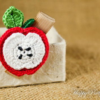 Apple Hair Clip - Crochet Fruit Hair Clip -  Children Hair Accessory - Girl Hair Clip - Toddler Hair Clip - Kids Clippie -  HC078