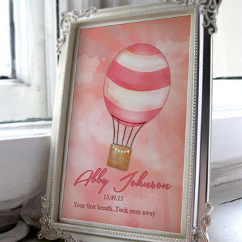 Pink Striped Balloon with a rosey pink background 'Your first breath, took ours away'