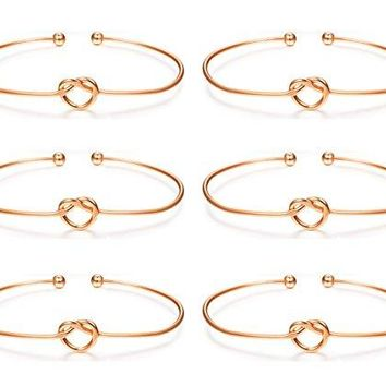 AUGUAU LOLIAS 6 Pcs Love Knot Bangle Bracelets Simple Cuffs Bridesmaid Bracelets for Women Girls Stretch Bracelets