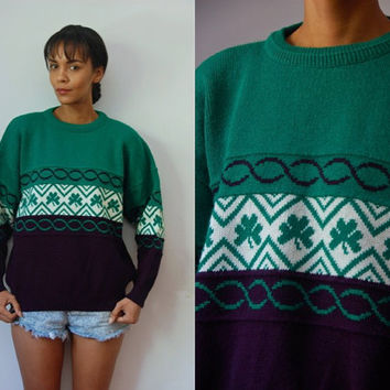 Vtg Irish Wool Clover Print Green Navy Retro Knit Sweater