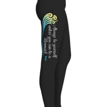 Mermaid Tail Printed Leggings for Women with Yellow and Blue Wave, Yoga Pants, Black Workout Pants, Gifts For Yoga Lovers, Ultra Soft Premium High Waisted Sports Pants