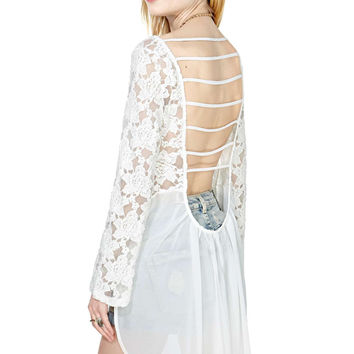 White Strappy Lace Long-Sleeve Chiffon Top