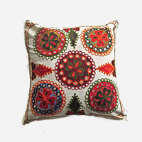 Vintage Indian handcrafted embroidery mirror work cushion cover, pillow cover, throw pillow, decorative pillow, suzani pillow cover 021
