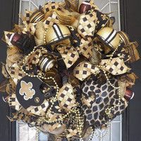 New Orleans Saints Football Wreath, NFL Wreaths, Door Hanger, Decoration, Wreath for Door, Front Door Wreaths, Ready to Ship