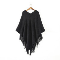 Women Batwing Cape Poncho Knit Top Pullover Sweater Coat Outwear