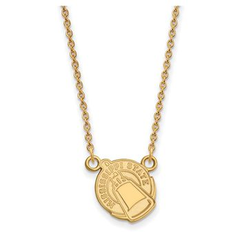 NCAA 14k Gold Plated Silver Mississippi State Small Pendant Necklace