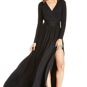 DailyLook: Vivian Jersey Knit Wrap Maxi Dress in Black XS - XL
