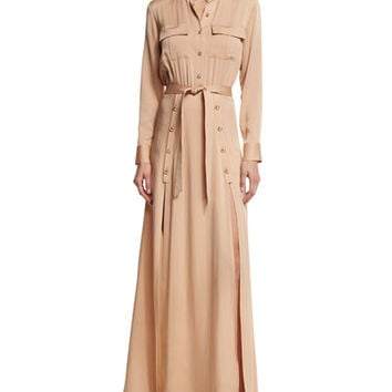 Self Portrait Long-Sleeve Crepe Military Maxi Dress, Camel