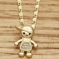 Gold Filled Girls Fancy Necklace, Little Boy Style, with White Micro Pave, Polished, 2mm Wide, 18 In By Folks Jewelry.