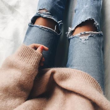 Jeans Summer Ripped Holes Denim Cropped Pants [10384130124]