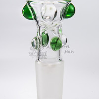 water bong bowl 18mm male glass fittings glass bowl bong replacement built in pinch screen green - Adapterrlman