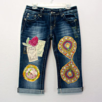 Miss Me Jeans Upcycled Boho Festival Denim Chambray Pants / Unique Funky Capri Jeans