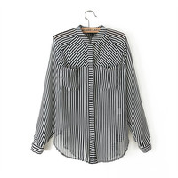 Striped Long Sleeve Blouse with Pockets