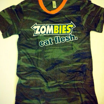 Men's Camo Zombies Eat Flesh Funny and Humorous Valentine's Day Gift For Him Walking Dead Fan Camping Fishing Outdoors Hiking Tshirt