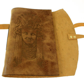 Stone woman leather bound journal in Italian antiqued leather