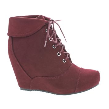 Carmela24 Burgundy By Bamboo, Almond Toe Lace Up Folded Cuff Hidden High Wedge Ankle Bootie