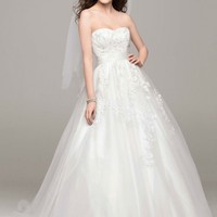 Strapless Tulle Ball Gown with Beaded Appliques - David's Bridal