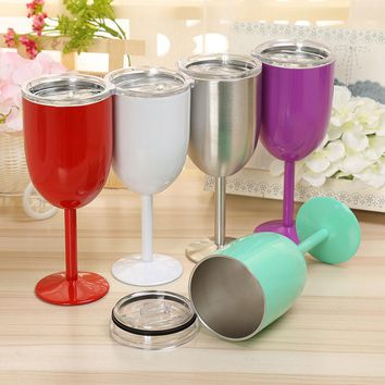 13oz 400ml Vacuum Stainless Steel Cocktail Glass Wine Creative Winecup Durable Glass Goblet with Lid Drinking Ware Glass