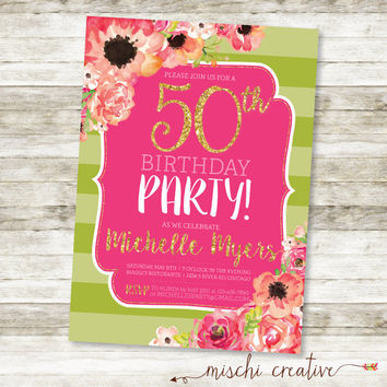 "40th Birthday Party Gold, Glittery and Glam Watercolor Flowers DIY Printable Invitation in Corals, Greens and Pinks, 5"" x 7"""