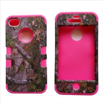 3 in 1 Green Camo With Pink Gel Realtree Hunting Camouflage High Impact Shock Defender Plastic Outside With Silicone Inside 3 in1 2D Hard Case Phone Cover