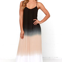 Three-Tone Three-Tune Black Maxi Dress