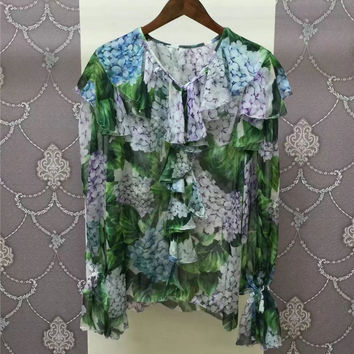 Floral Print Womens Tops 2017 Spring Summer Fashion 100% Silk Ruffles Collar Long Sleeve Womens Blouses New Camisas Mujer