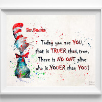 Dr. Seuss Print, Doctor Seuss Quote, Seuss Watercolor, Type 3, Wall Art, Nursery Posters, Artwork, Dorm Decor, Mothers Day Gift