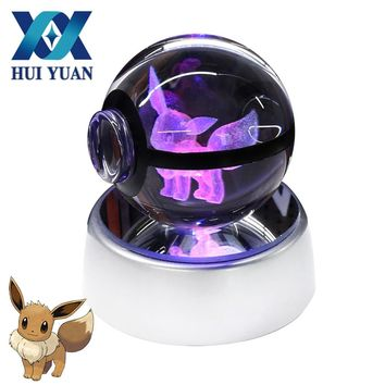 HUI YUAN Eevee Crystal Pokeball Poke Ball 5CM Diameter Button Cell Powered 3D LED Night Light Lamp Decorations