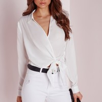 Missguided - Wrap Over Tie Side Blouse Ivory
