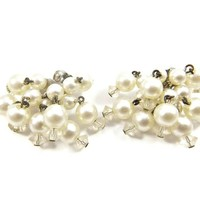 Cha Cha Earrings with Dangle White Pearl Beads and Clear Glass Crystals Clip On