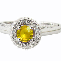 Yellow Sapphire Ring Halo Engagement Ring Red color 18K Gold with D-E VVS Diamonds