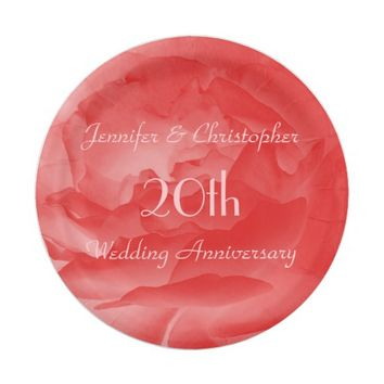 Coral Rose Paper Plates, 20th Wedding Anniversary Paper Plate