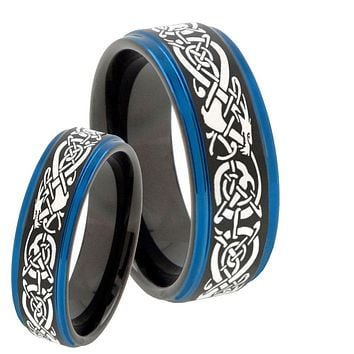 His Hers Celtic Dragon Blue Step Edges Tungsten Men's Wedding Band Set
