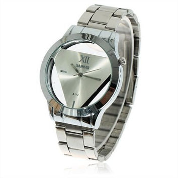 Stainless Steel Watch Men's Triangle Shaped Watchband Silver