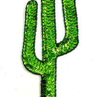 "Cactus with Green Sequins and Beads 9"" x 3.25"""