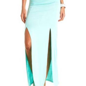 High-Waisted Double Slit Maxi Skirt by Charlotte Russe - Mint