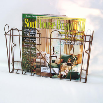 Wire Wall Basket Magazine Holder Industrial Chic Hanging File Organizer Metal Wall Rack